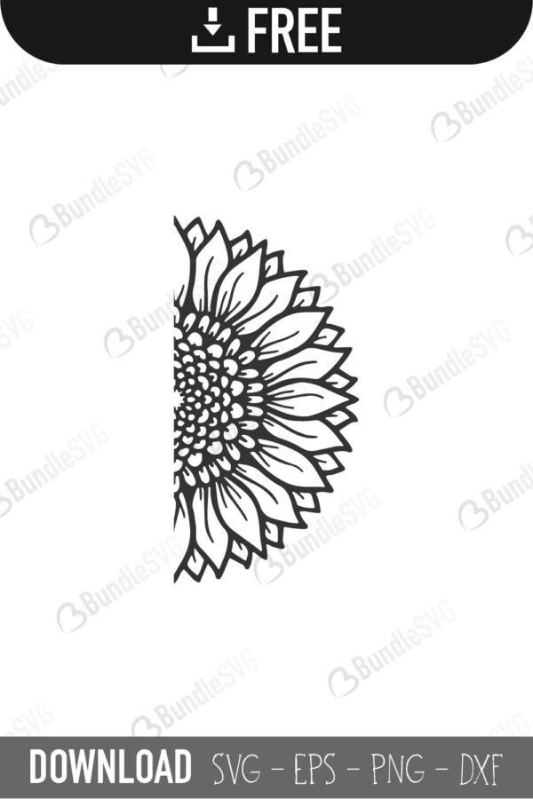 Half Sunflower SVG Cut Files